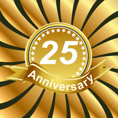 25th: 25th anniversary ribbon logo with golden rays of light. Illustration