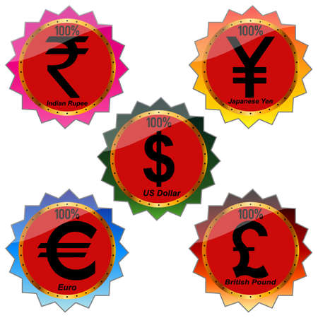 withdrawal: International Currency Symbols Vector. Illustration