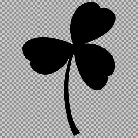 goodluck: Leaf clover sign. Black a symbol on a transparent background. Illustration