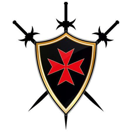 Icône du vecteur Templar Shield.