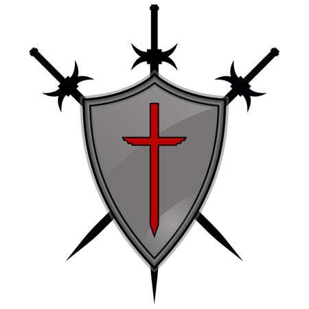 Templier, armure, bataille, croix, chevalier, rouge, bouclier, ancien, antique, arrière-plan.