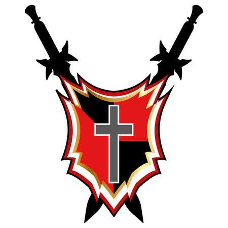 scratches: Templar Shield vector icon.