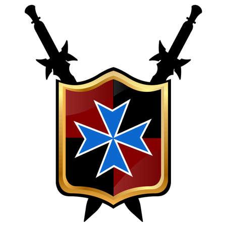 Templar Shield vector icon.