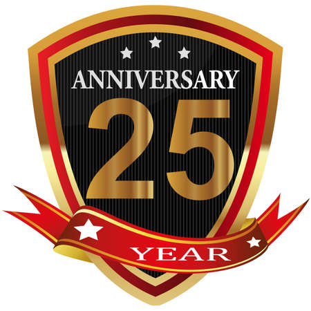 Anniversary 25 th label with ribbon.