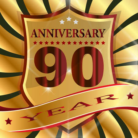 Anniversary 90 th label with ribbon.