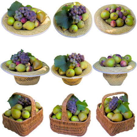 Baskets and hats with pears and grapes on a white background.