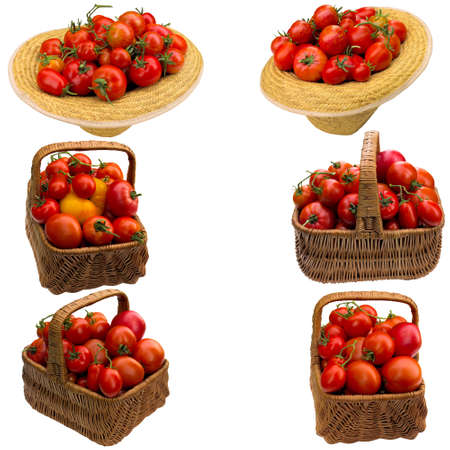 Basket with tomatoes on a white background.