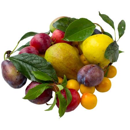 Autumn batch of fruit isolated on white background. Stock Photo