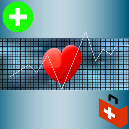 Healthcare vector medical background with white heart cardiogram. Vector cardiology concept with pulse rate diagram. Illustration