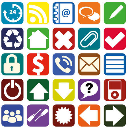 Webpage icons collection color interfaces.