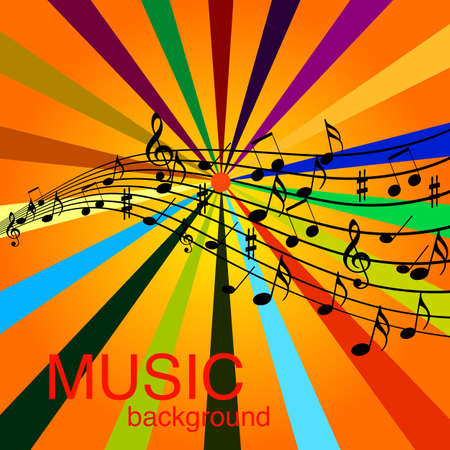 Musical Design Elements From Music Staff With Treble Clef And Notes in Black and White. Vector Illustration.