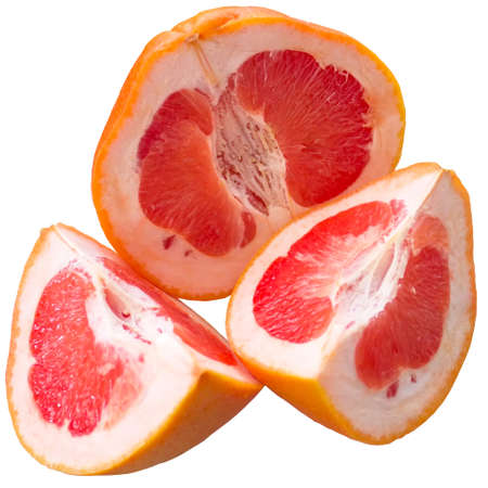 Half a grapefruit on white background.