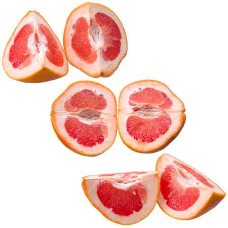 Grapefruit, red, fruit, fresh, food, isolated, citrus, half, vitamin, yellow.