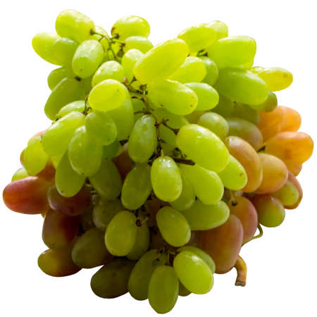 Isolated, white, cluster, food, fruit, bunch, fresh, juicy, ripe, green.