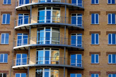 Building, city, apartment, facade, multistorey, house, new, residential, balcony, block. Stock Photo