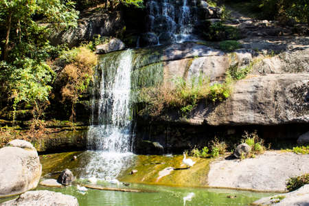 Big, descent, external, fall, leaves, life, national, picturesque, reflection, rocks.