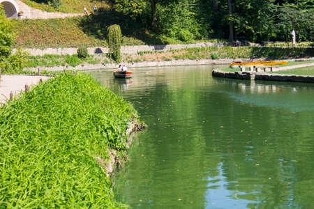 Green, nature, park, walk across Sofiyevka, background, boat, beautiful, foliage, forest. Stock Photo