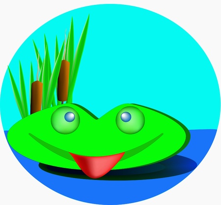 jovial: Green frog smile and look out from canes.