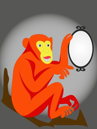 Red monkey before mirror Stock Vector - 9525200
