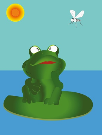 Frog sit on the waterlily and  look on mosquito  Illustration