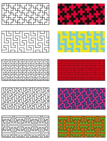 Collection models of the five japanese pattern Illustration