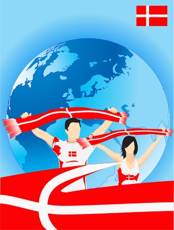 Man and woman are danish sport fans Stock Vector - 9618929