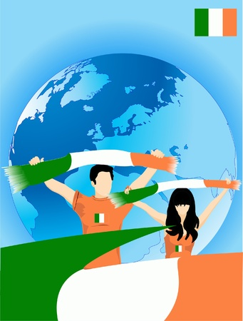 Man and woman are irish sport fans Stock Vector - 9618926