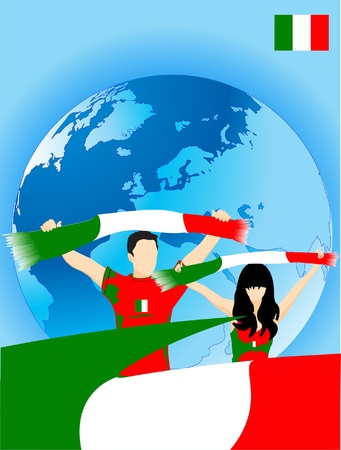 Man and woman are italian sport fans Vector