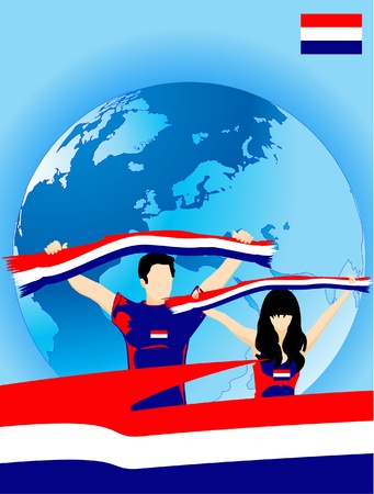 Man and woman are luxemburgian sport fans Illustration