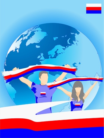 Man and woman are serbian sport fans Stock Vector - 9618915