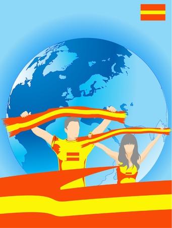 donna spagnola: Uomo e donna sono gli amanti dello sport spagnolo Vettoriali