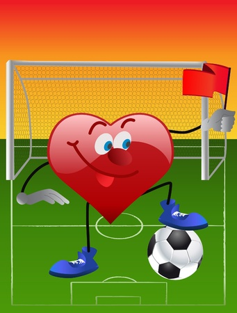 This is heart plaing in football on field Stock Vector - 9717227