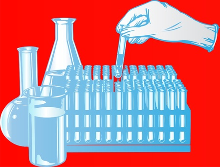 There are retorts and test tubes for laboratory test Vector