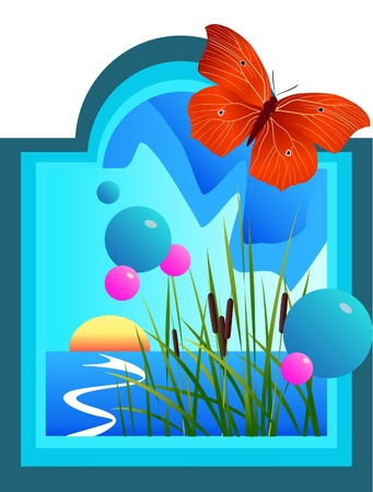 Thi is butterfly sit on the window Stock Vector - 9719479