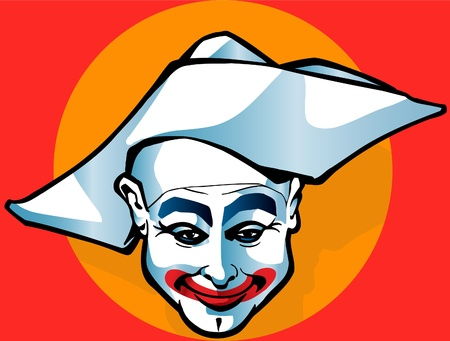 pierrot: This is jolly clown who is smile Illustration