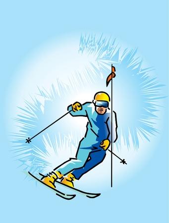 slalom: Jest to narciarz obniżenie od wysokiej góry Ilustracja