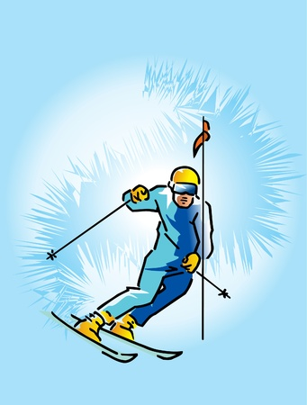 This is skier lowering from high mountain Stock Vector - 9721637