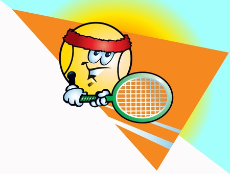This is tennis ball and tennis racket Illustration