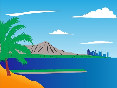 This is city about sea and beach with palm Stock Vector - 9820746
