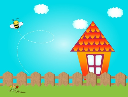 house drawing: This is jolly bee flying nearly house Illustration