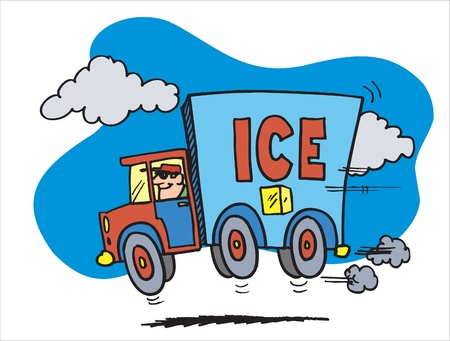 This is car carring ice and ice-cream