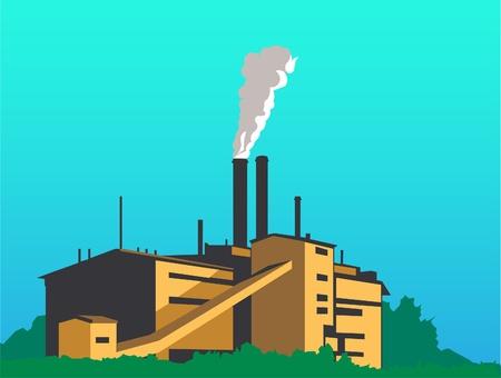 smoke stack: Questa fabbrica � grande immagine tra gli alberi