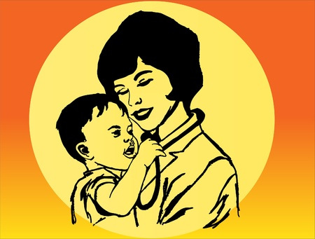 babysit: There are woman- mother embrace her child Illustration