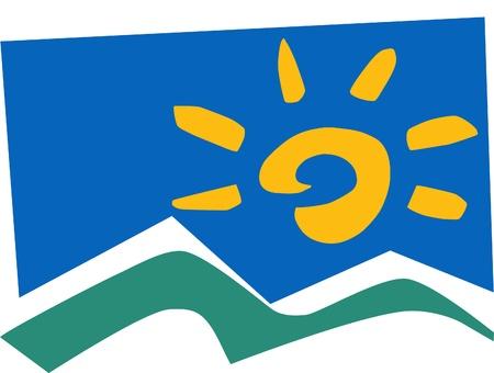 rock logo: Se trata de monta�a y sol abstracta ilustraci�n