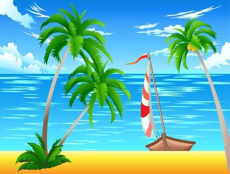ce: C'est en bateau sur la mer et les palmiers