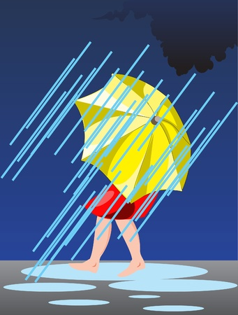This is rain and person under umbrella Vector