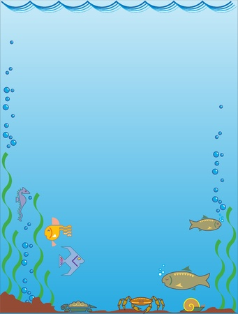 This is illustration aquatic background with fishes Illustration