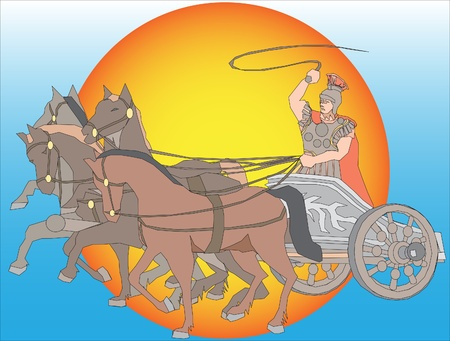 ancient roman: This is illustration four horses with chariot