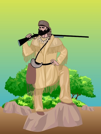 This is illustration frontier man with gun Vector