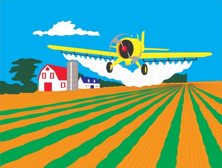 This is airplane - duster flying over field Illustration